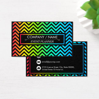 Colorful Chevron Pattern Personalize Business Card