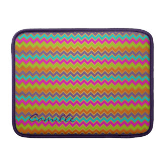 colorful chevron pattern personalized with name MacBook air sleeve