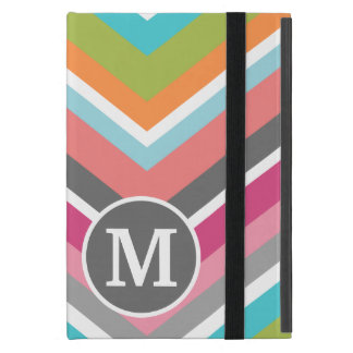 Colorful Chevron Pattern with Custom Monogram Cover For iPad Mini