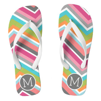 Colorful Chevron Pattern with Custom Monogram Flip Flops