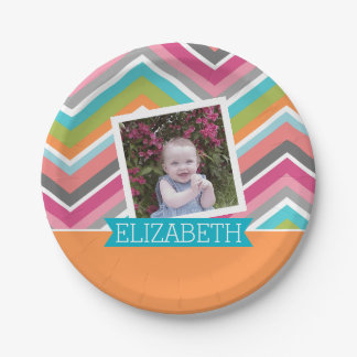 Colorful Chevron Pattern with Custom  Name 7 Inch Paper Plate