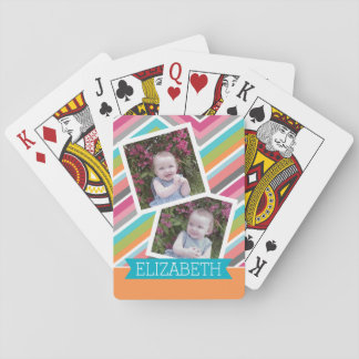 Colorful Chevron Pattern with Custom  Name Playing Cards