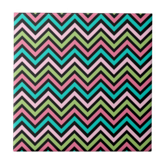 Colorful Chevron Pink and Green Tile