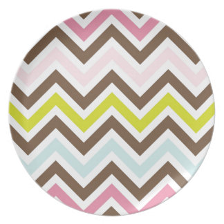 Colorful Chevron Printed Dinner Plates