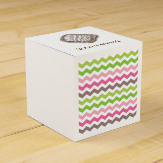 Colorful chevron stripe with chocolate truffle favor box