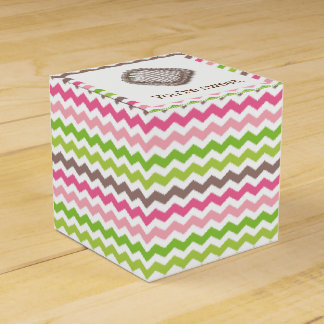 Colorful chevron stripe with chocolate truffle wedding favor boxes