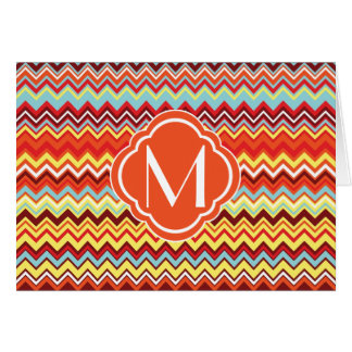 Colorful Chevron Zig Zag Pattern with Monogram Card