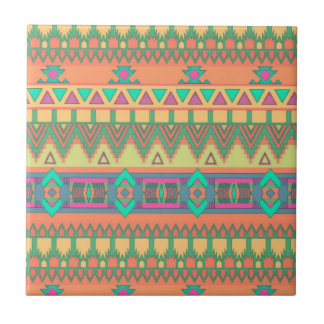 Colorful Chevron Zig Zag Tribal Aztec Ikat Pattern Tile