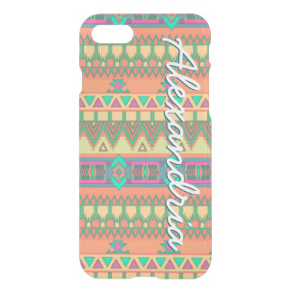 Colorful Chevron Zig Zag Tribal Aztec Pattern Girl iPhone 7 Case