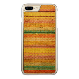 Colorful Chevron Zigzag Pattern Wood Look #3 Carved iPhone 7 Plus Case
