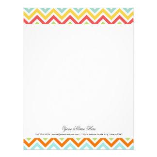 Colorful Chevron Zigzag Stripes Pattern Letterhead