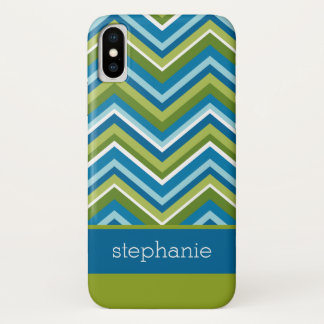 Colorful Chevrons Green Blue Custom Name iPhone X Case