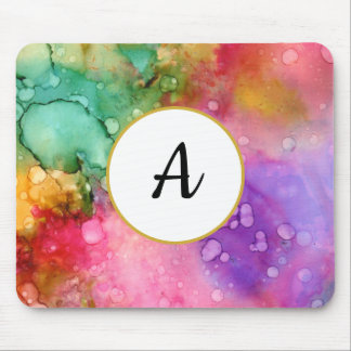 Colorful Chic Abstract Watercolor Monogram Mouse Pad