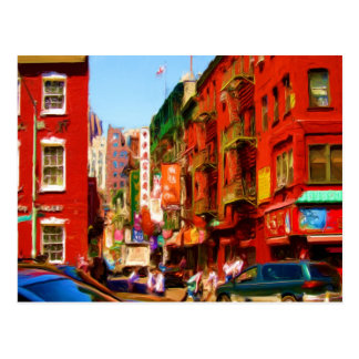 Colorful Chinatown Block NYC Postcard