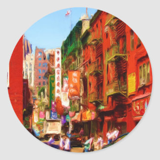 Colorful Chinatown Block NYC Stickers