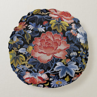Colorful Chinese Embroidery Flowers Round Pillow