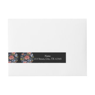 Colorful Chinese Embroidery Flowers Wraparound Address Label