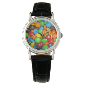 Colorful_Chocolate_Candy_Ladies_Leather_Watch. Wristwatch