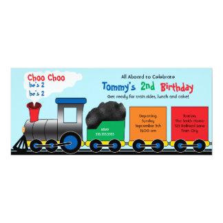 Colorful Choo Choo Train Birthday Invitation