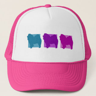 Colorful Chow Chow Silhouettes Trucker Hat