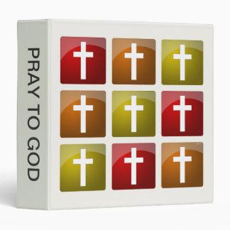 Colorful Christian Crosses 3 Ring Binder