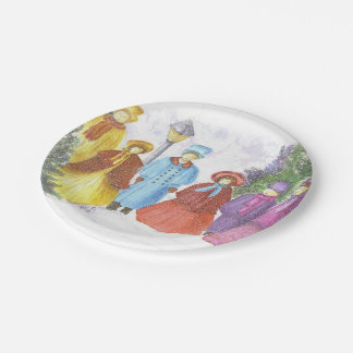 Colorful Christmas Carolers Paper Plate