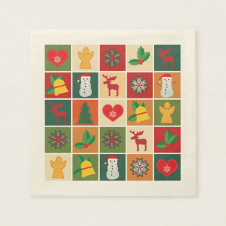 Colorful Christmas Collage Paper Napkins