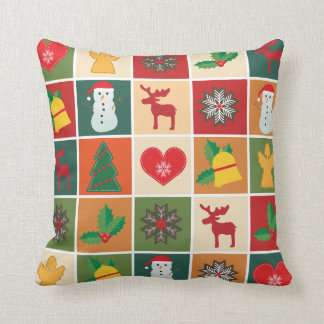 Colorful Christmas Collage Throw Pillow