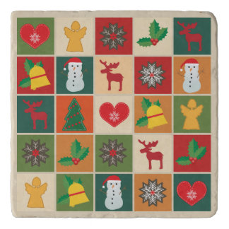 Colorful Christmas Collage Trivet