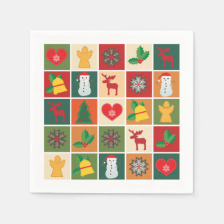 Colorful Christmas Collage White Disposable Napkins