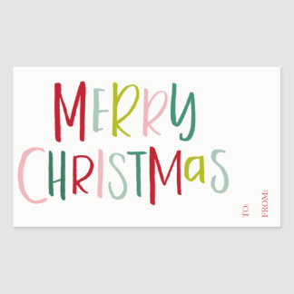 Colorful Christmas Gift Tag To From Sticker