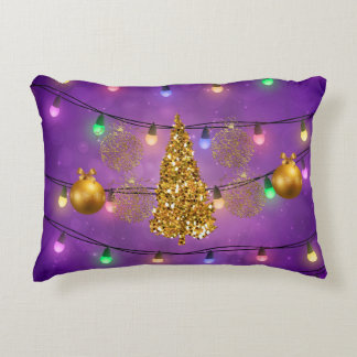 Colorful Christmas Lights Golden Tree & Ornaments Decorative Pillow