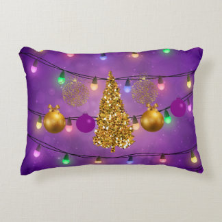 Colorful Christmas Lights & Ornaments Golden Tree Decorative Pillow