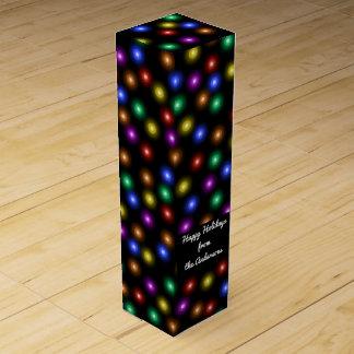 Colorful Christmas Lights Pattern Illustration Wine Gift Box