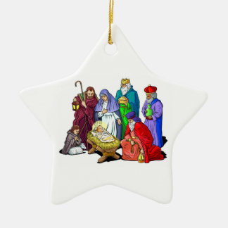 Colorful Christmas Nativity Scene Ceramic Ornament