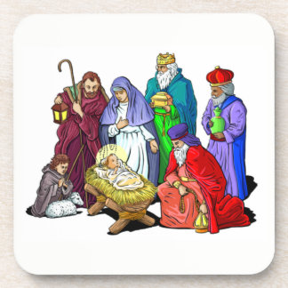 Colorful Christmas Nativity Scene Coaster