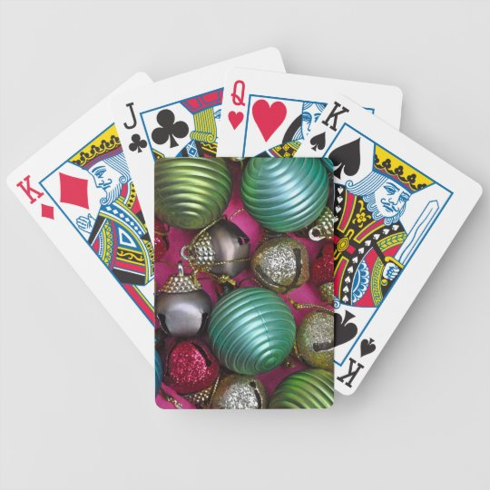 Colorful christmas ornaments bicycle playing cards