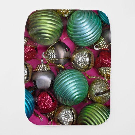 Colorful christmas ornaments burp cloth