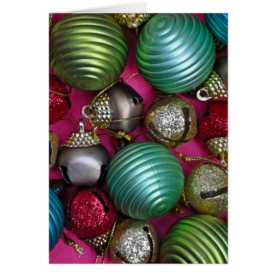 Colorful christmas ornaments card