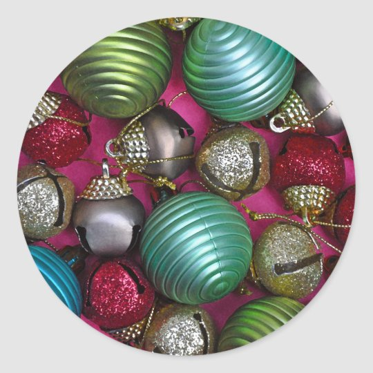 Colorful christmas ornaments classic round sticker