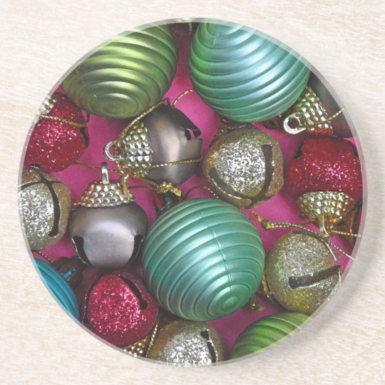 Colorful christmas ornaments coaster