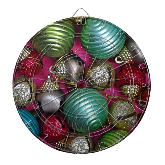 Colorful christmas ornaments dartboard