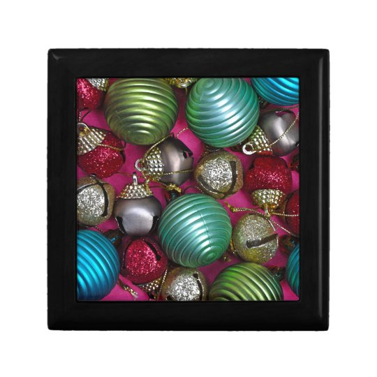 Colorful christmas ornaments gift box