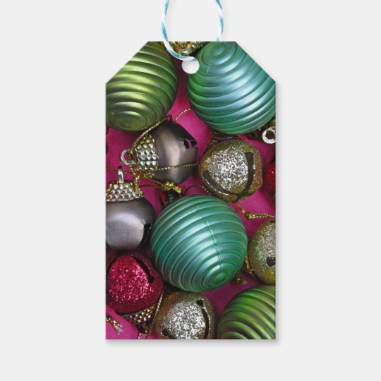 Colorful christmas ornaments gift tags
