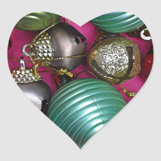 Colorful christmas ornaments heart sticker