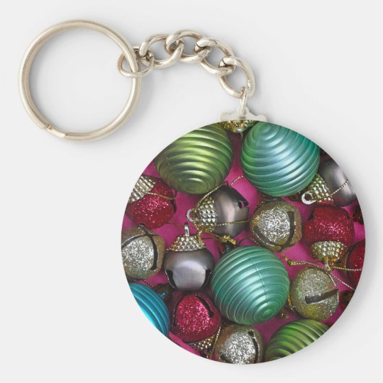 Colorful christmas ornaments keychain