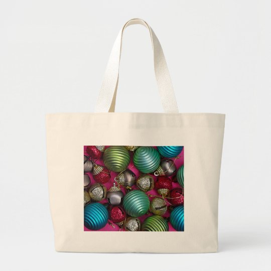 Colorful christmas ornaments large tote bag