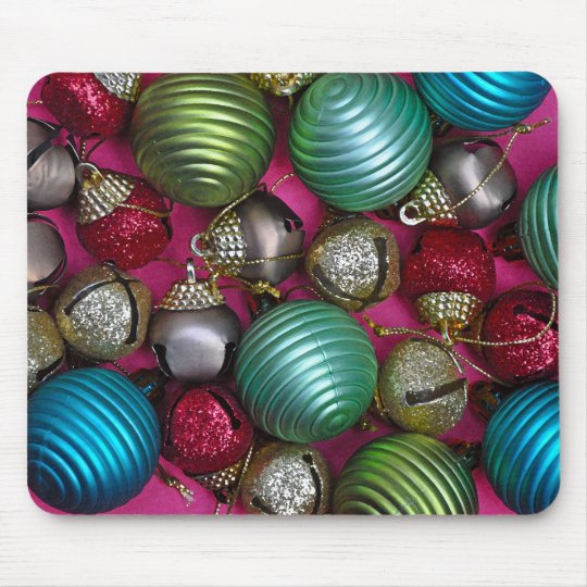 Colorful christmas ornaments mouse pad