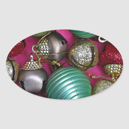 Colorful christmas ornaments oval sticker