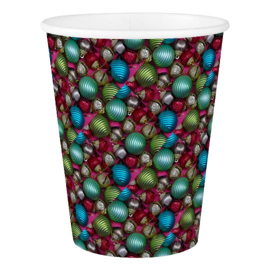 Colorful christmas ornaments paper cup